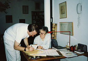 With John Cage in his New York apartment, 1989